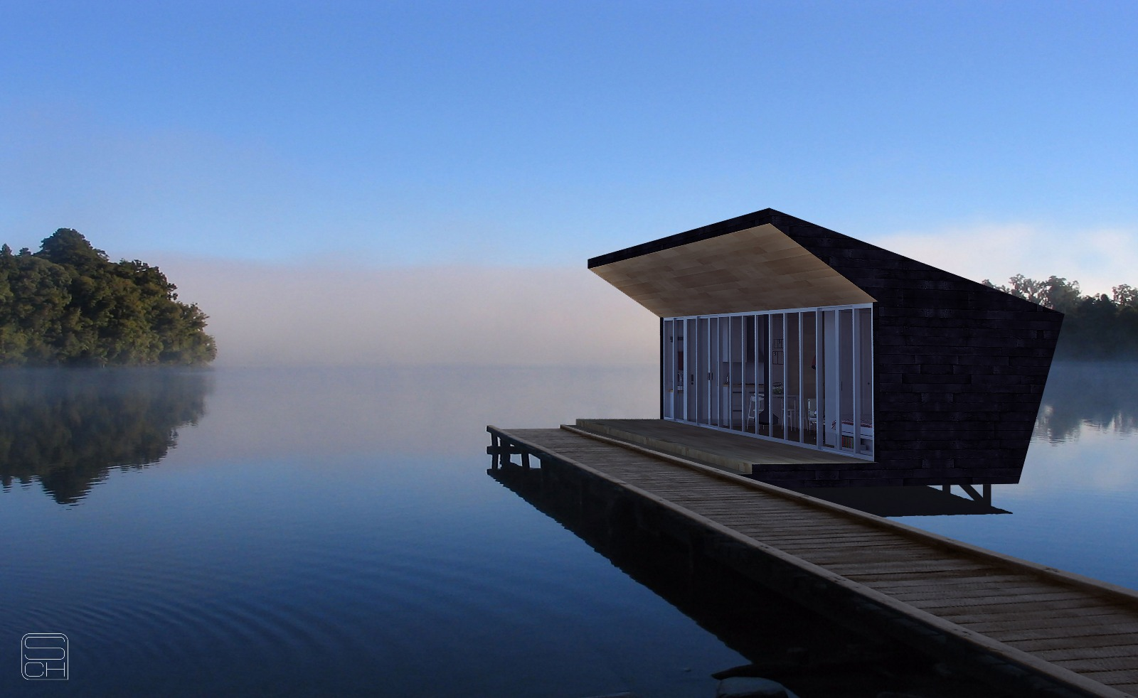 prefabricated house in a sample lake installation